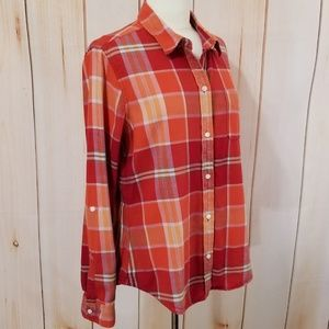 Lucky Brand Orange Red Plaid Flannel Button Down